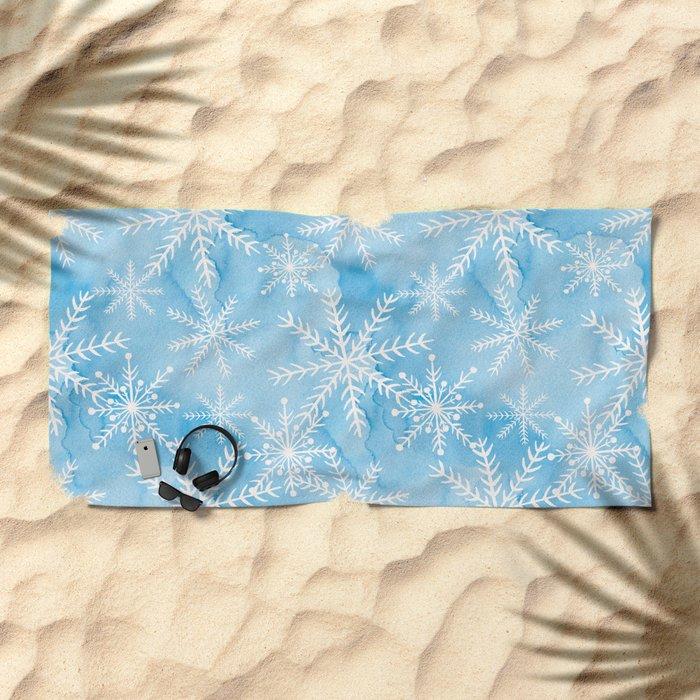 Blue Snowflakes #2 Beach Towel