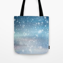 Snow Bokeh Blue Pattern Winter Snowing Abstract Tote Bag