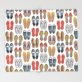 Hard choice // shoes on white background Throw Blanket