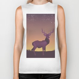 Stag in the sunset Biker Tank