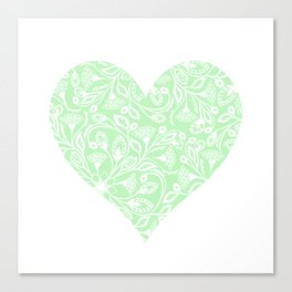 Floral Heart Design in Green Canvas Print