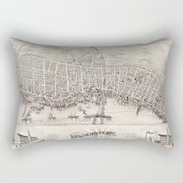 Vintage Pictorial Map of Newburyport MA (1894) Rectangular Pillow