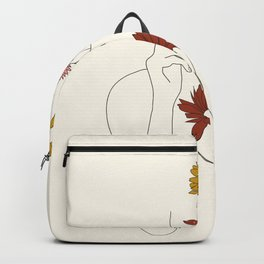 Colorful Thoughts Minimal Line Art Woman with Flowers III Backpack