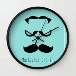 Mustache 3 of a Kind Wall Clock