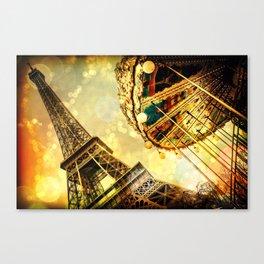 pariS. : Eiffel Tower & Ferris Wheel Canvas Print