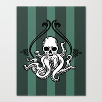 cthulhu Canvas Prints featuring Cthulhu by MyOwlHasAntlers