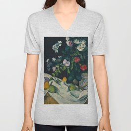 """Paul Cezanne """"Still Life with Flowers and Fruit"""" Unisex V-Neck"""
