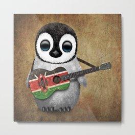 Baby Penguin Playing Kenyan Flag Acoustic Guitar Metal Print
