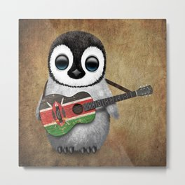Baby Penguin Playing Kenyan Flag Acoustic Guitar Metal Print