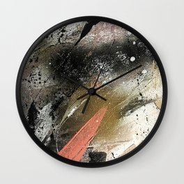 lighning [2]: a colorful abstract piece in black, white, gold, and pink Wall Clock