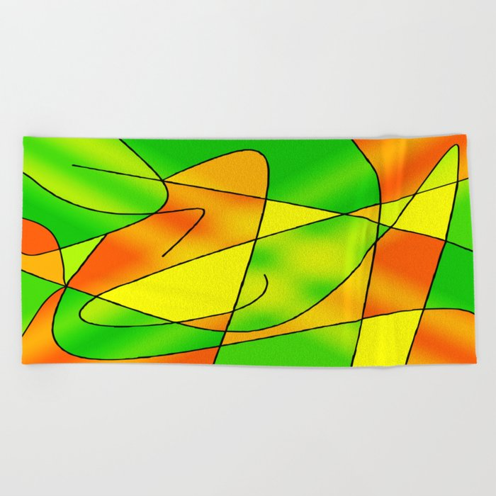 ABSTRACT CURVES #2 (Greens, Oranges & Yellows) Beach Towel