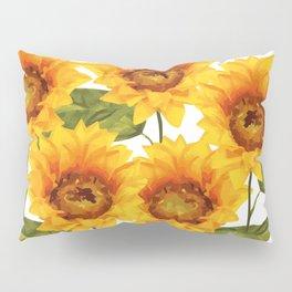 Design Five Sunflower on white Background Pillow Sham