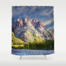 Colorado Rocky Mountain First Snow Maroon Bells Shower Curtain