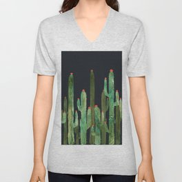 Cactus Four at night Unisex V-Neck