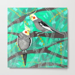 Cockatiels in Green Metal Print