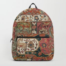 Persian Medallion Rug V // 16th Century Distressed Red Green Blue Flowery Colorful Ornate Pattern Backpack