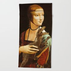Lady with a Velociraptor Beach Towel