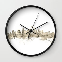 Seattle Washington Skyline Sheet Music Cityscape Wall Clock