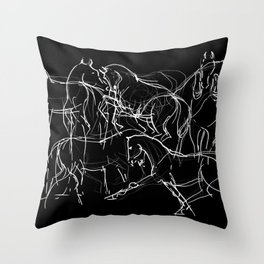 Horses (Movement on black) Throw Pillow