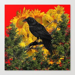 CROW & SUNFLOWERS WILDERNESS RED ART Canvas Print