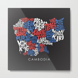 Cambodian Province Typography.  Metal Print