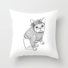 French Bulldog with Flowers Crown & Sweater Throw Pillow