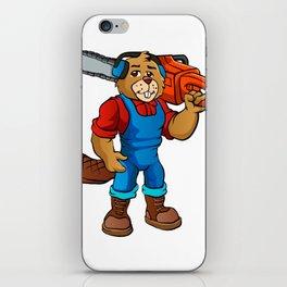 Beaver Lumberjack Cartoon iPhone Skin