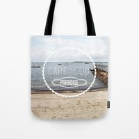 cape cod Tote Bags featuring Cape Cod Paradise  by Caroline Fahey