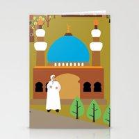 arab Stationery Cards featuring Peaceful Arab village In the desert by Design4u Studio