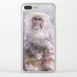 Snow monkey dreams Clear iPhone Case