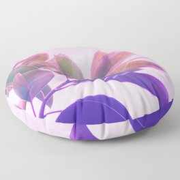 Elegant Tropical Rubber Foliage 1 - Pink and purple Floor Pillow