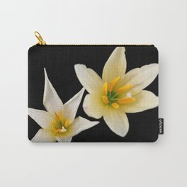 White flowers with black Carry-All Pouch