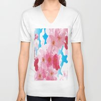 cherry blossoms V-neck T-shirts featuring Cherry Blossoms by raven's_revelation_city_graphics