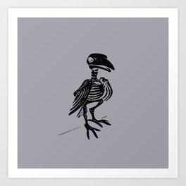 Raven Skeleton (Black on Gray Art Print