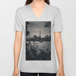 A View From The Water. Toronto CN Tower, Cityscape Photograph Unisex V-Neck