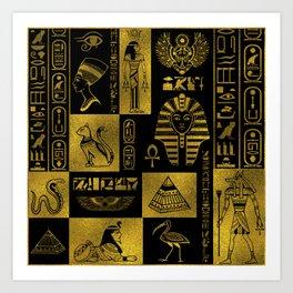 Egyptian  Gold hieroglyphs and symbols collage Art Print