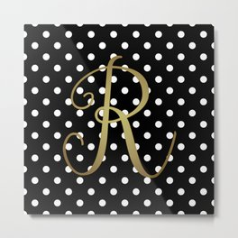 Black and White Polka Dot and R Gold Monogram Metal Print