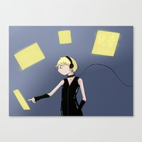 vocaloid Canvas Prints featuring Vocaloid - Len in control by Kitteh