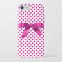 polkadot iPhone & iPod Cases featuring Pink Polkadot - Ribbon by albert Junior