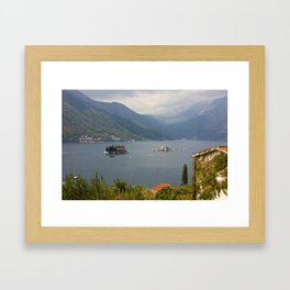 Panoramic View Of Kotor Bay With The Monastery Framed Art Print