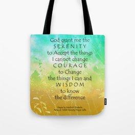 Serenity Prayer Green Gold Sunrise Tote Bag