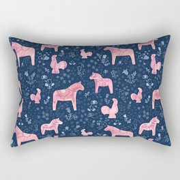 Swedish Dala Horse and Rooster Blue and Pink Pattern Rectangular Pillow