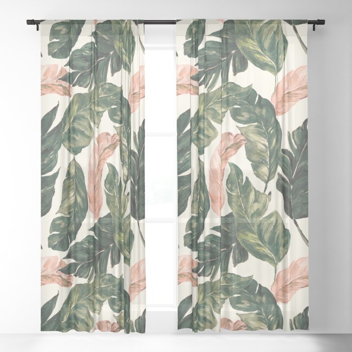 Leaf green and pink Sheer Curtain