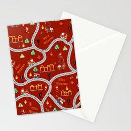 Fireman cute seamless kids pattern dark red Stationery Cards