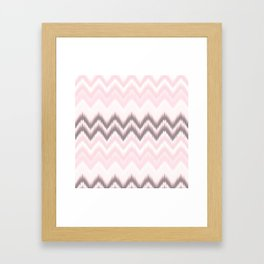 Girly blush pink pastel modern elegant ikat pattern Framed Art Print