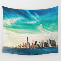 nyc Wall Tapestries featuring NYC Skyline by Vivienne Gucwa