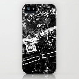 lost place rusty american car wreck splatter watercolor black white iPhone Case