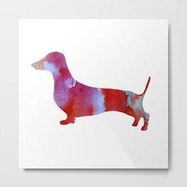 Pink watercolor dachshund Metal Print