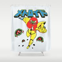 metroid Shower Curtains featuring Metroid Japanese Promo by Studio Momo╰༼ ಠ益ಠ ༽