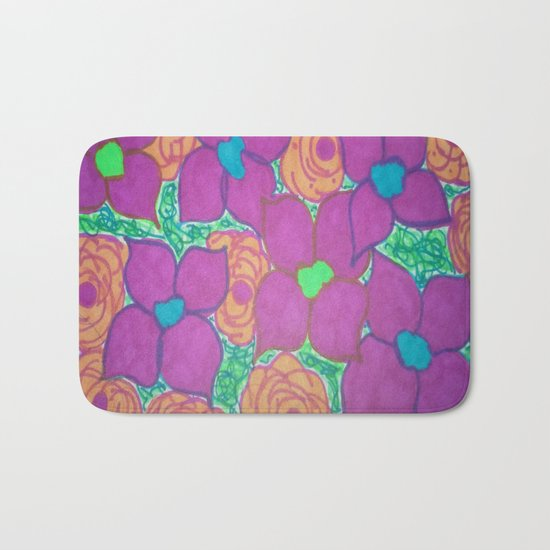 Bold Summer Flowers Bath Mat